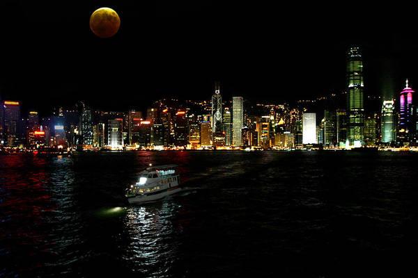 Wall Art - Photograph - Summer Moon Over Hong Kong by Frank Savarese