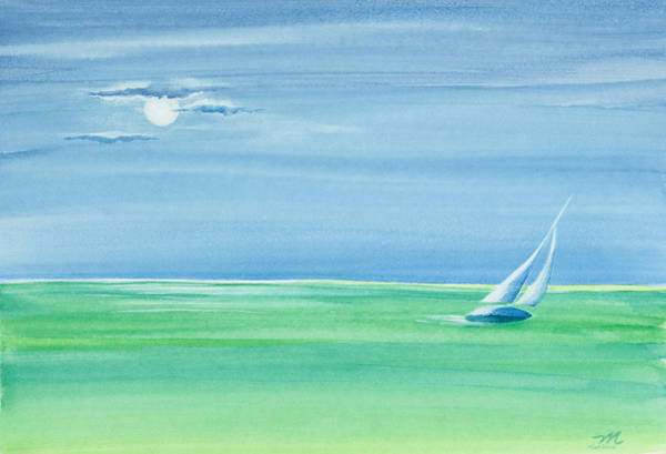 Painting - Summer Moonlight Sail by Michelle Constantine