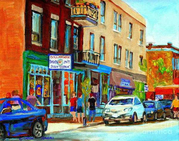 Painting - Summer On Saint Viateur Street Strolling By The Bagel Shop And David's Tea Room  Montreal City Scene by Carole Spandau