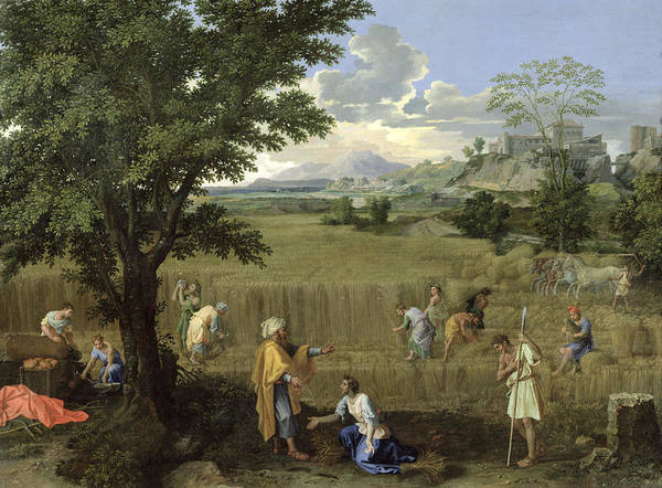 Corn Field Photograph - Summer, Or Ruth And Boaz, 1660-64 Oil On Canvas by Nicolas Poussin