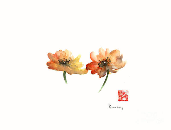 Gift Shops Painting - Summer Orange Green Flower Flowers Autumn Red Giclee Fine Art Print Of Watercolor by Johana Szmerdt
