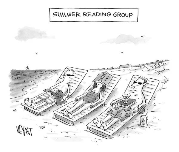 Summer Vacation Drawing - Summer Reading Group -- Three Beach Goers Lounge by Christopher Weyant