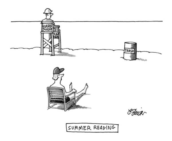 Shore Drawing - Summer Reading by Peter Steiner
