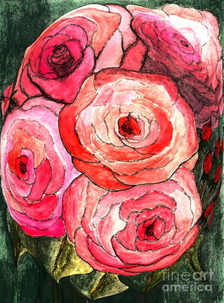 Wall Art - Mixed Media - Summer Roses by Nancy TeWinkel Lauren