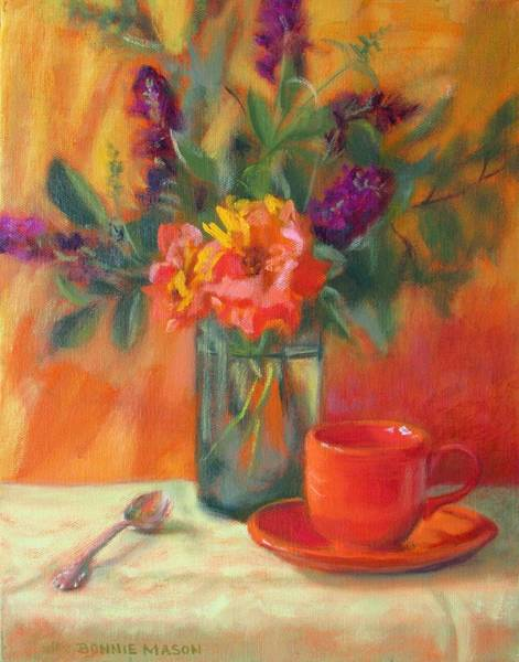 Wall Art - Painting - Summer Song- Orange Roses And Butterfly Bush Blooms by Bonnie Mason