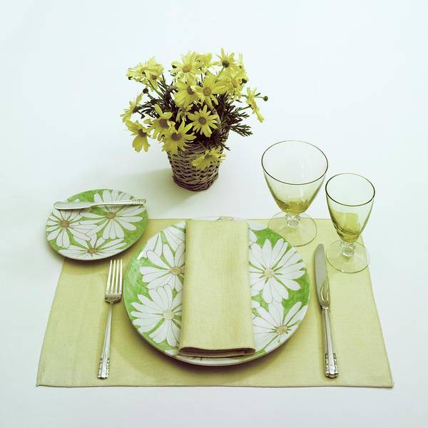 Yellow Background Photograph - Summer Table Setting by Haanel Cassidy