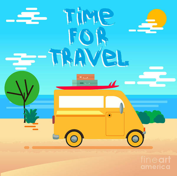 Wall Art - Digital Art - Summer Time Vector Background. Summer by Alexbocharov