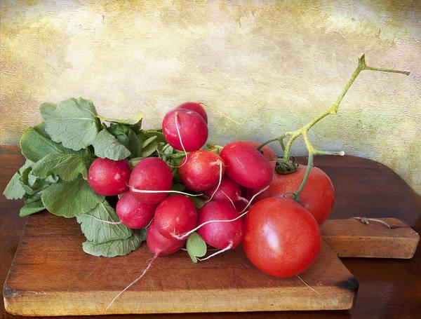 Ingredient Digital Art - Summer Vegetables On Chopping Board by Luisa Vallon Fumi