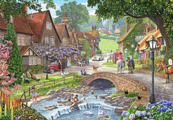 Wall Art - Painting - Summer Village Stream by MGL Meiklejohn Graphics Licensing