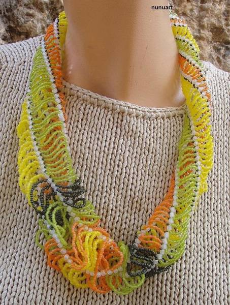 Wall Art - Jewelry - Summery Spiral Necklace  by Nurit Tzubery