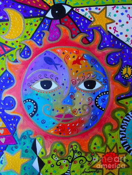 Painting - Sun And Moon Tree Of Life by Pristine Cartera Turkus