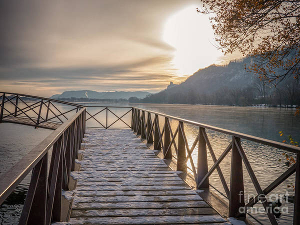Photograph - Sun And Snow At Fishing Pier by Kari Yearous