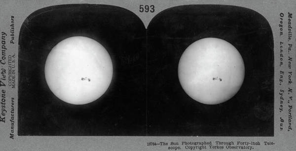 Stereogram Photograph - Sun And Sunspots In 1910s by Us Naval Observatory/science Photo Library