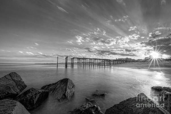 Ocean Grove Photograph - Sun-bursting Through The Clouds Bw by Michael Ver Sprill