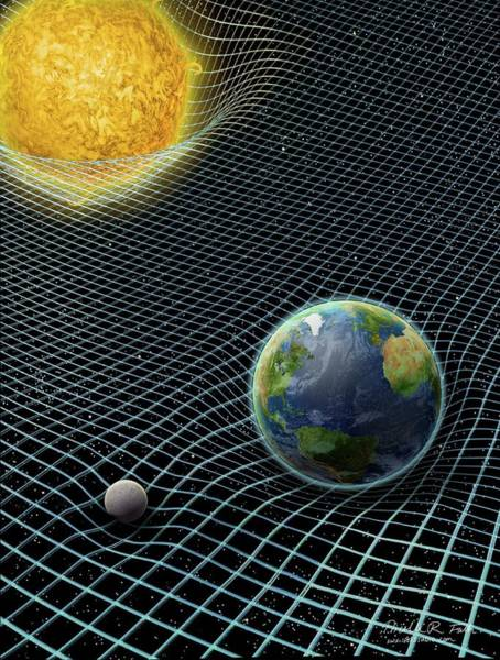 Earth Orbit Photograph - Sun-earth-moon And Space-time by Nicolle R. Fuller/science Photo Library