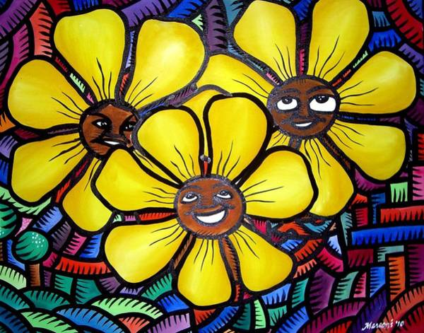 Painting - Sun Flower And Friends Manila  2010 by Marconi Calindas