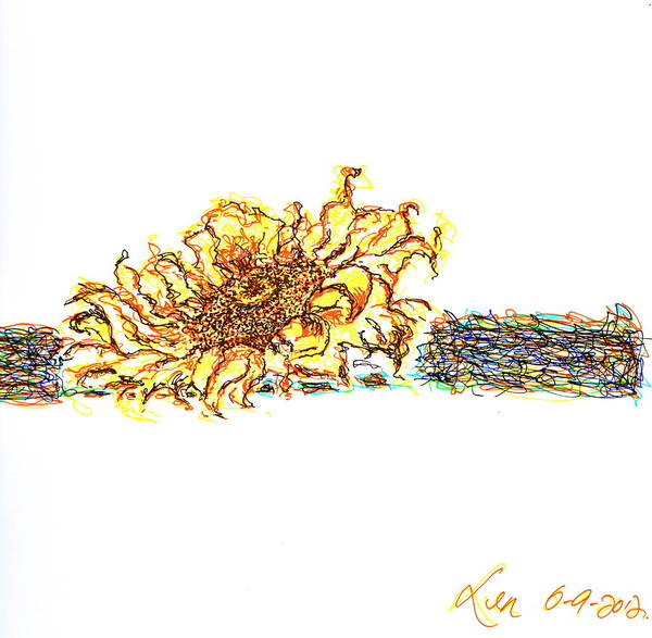 Soothing Drawing - Sun Flower by Len YewHeng