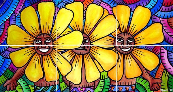 Painting - Sun Flowers And Friends 2008 by Marconi Calindas
