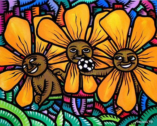 Painting - Sun Flowers And Friends Playtime 2009 by Marconi Calindas
