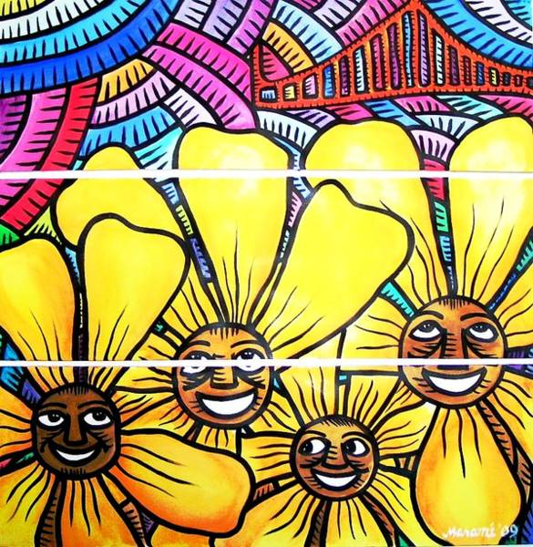 Painting - Sun Flowers And Friends Sf 1 by Marconi Calindas