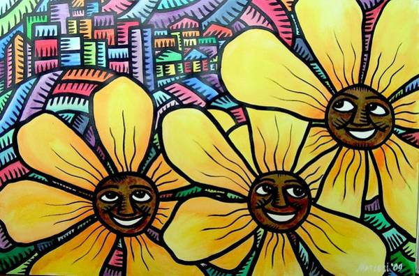 Sun Flowers And Friends Sf 2 2009 Art Print