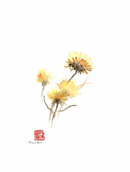 Gift Shops Painting - Sun Flowers Yellow Brown Orange Flower Autumn Flower Watercolor Painting by Johana Szmerdt