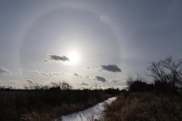 Strange Land Wall Art - Photograph - Sun Halo - An Amazing Optical Phenomenon In The Winter Sky by Georgia Mizuleva