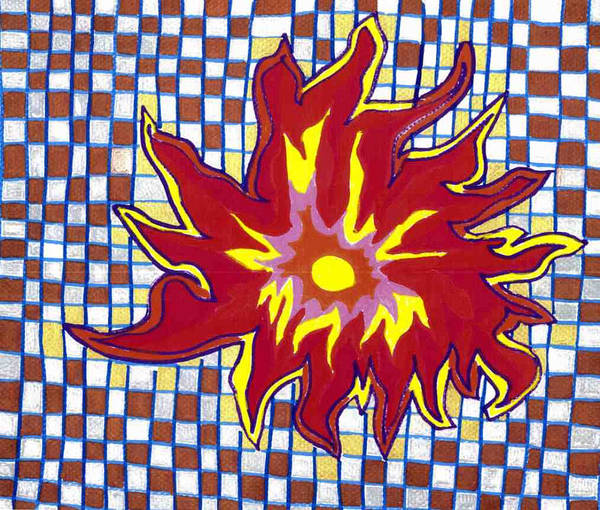 Sun In A Checkerboard Sky Art Print