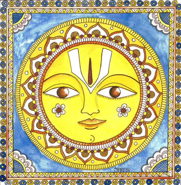 Kalamkari Painting - Sun Is Smiling At You by Jekaterina Mudivarthi