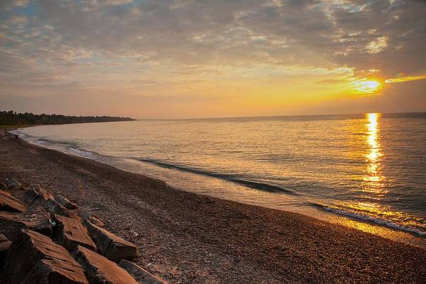 Photograph - Sun Over Lake Erie Shoreline by David Coblitz