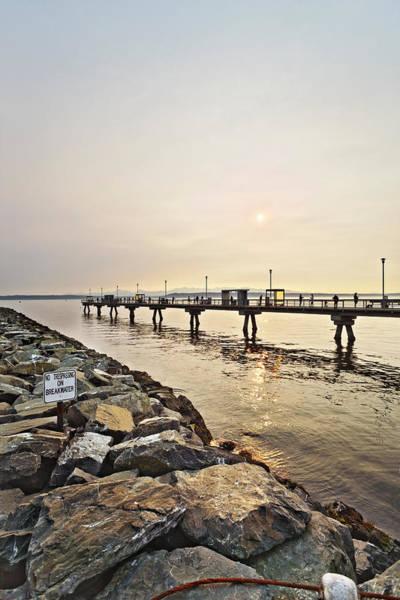 Waterbreak Wall Art - Photograph - Sun Over The Pier by Jo Ann Snover