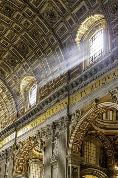 Duomo Photograph - Sun Rays In St. Peter's Basilica by Susan Schmitz