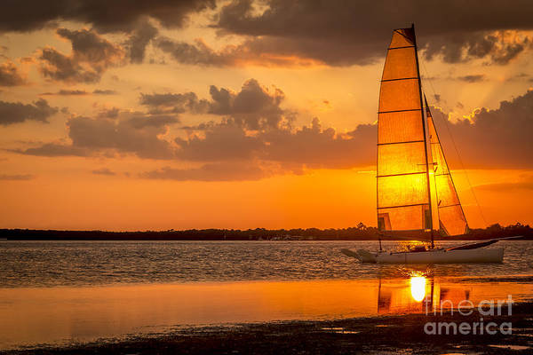 Inlet Photograph - Sun Sail by Marvin Spates