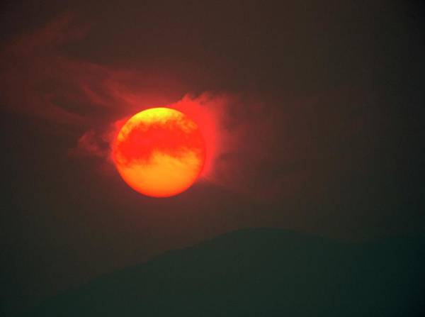 Burnt Orange Photograph - Sun Setting Behind Smoke From Bushfires by Tony Camacho/science Photo Library