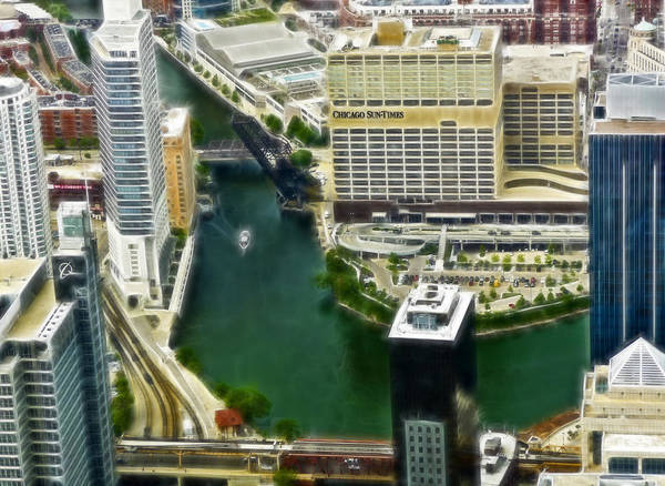 Digital Art - Chicago's Sun Times View From Willis Tower by Ginger Wakem