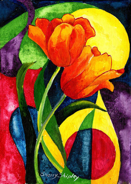 Painting - Sun Tulips by Sherry Shipley