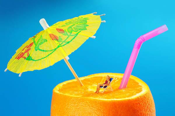 Sunbather Wall Art - Photograph - Sunbather On Orange Miniature Art by Paul Ge