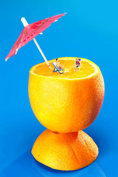 Sunbather Wall Art - Photograph - Sunbathers On Orange Little People On Food  by Paul Ge