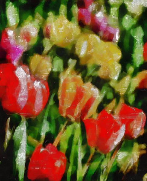 Impression Mixed Media - Sunbathing Tulips by Angelina Tamez