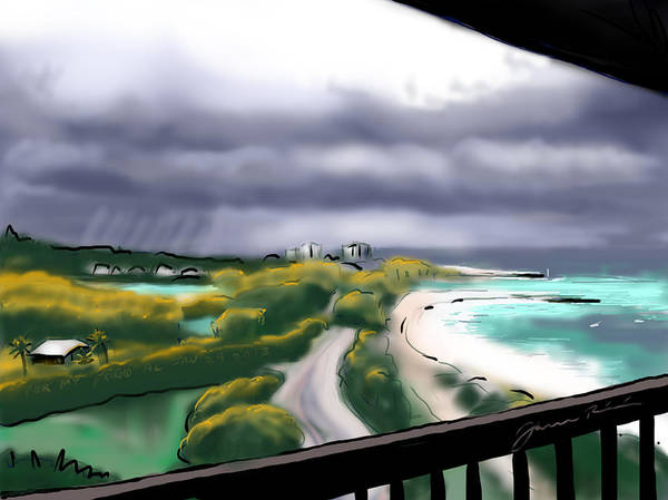 South Beach Drawing - Sunbreaks On The Inlet by Jean Pacheco Ravinski