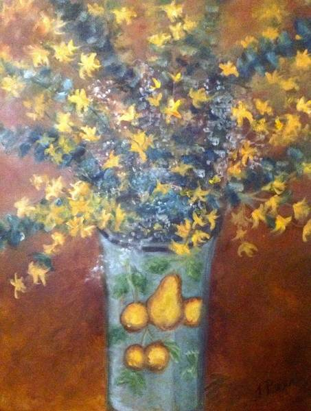 Forsythia Painting - Sunburst Floral by Tracey Peer