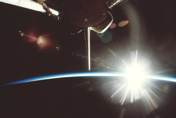 International Space Station Photograph - Sunburst by Nasa/science Photo Library