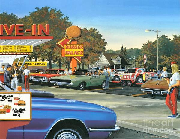 Drive-ins Painting - Sunday After The Races by Michael Swanson