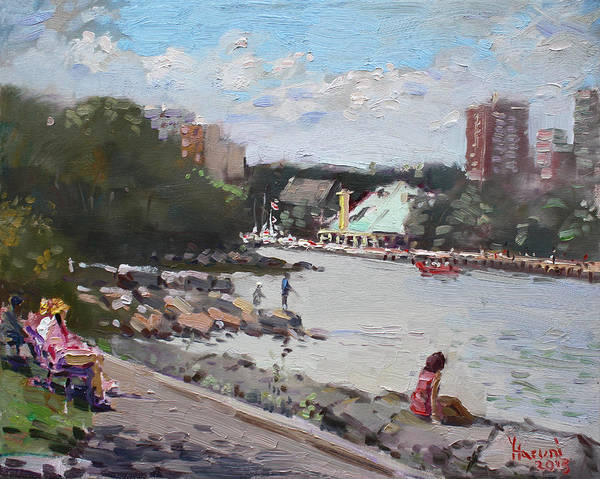 Fishing Boat Painting - Sunday At Port Credit Park Mississauga by Ylli Haruni