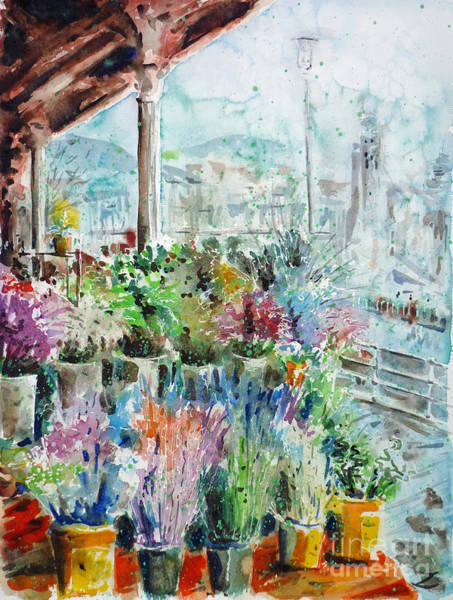 Russian Impressionism Wall Art - Painting - Sunday Flower Market In Bilbao by Zaira Dzhaubaeva