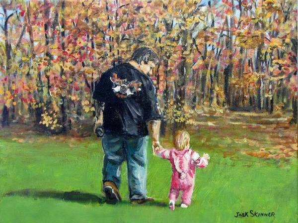 Wall Art - Painting - Sunday Walk With Dad by Jack Skinner