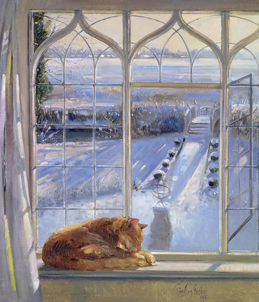 Wall Art - Painting - Sundial And Cat  by Timothy Easton