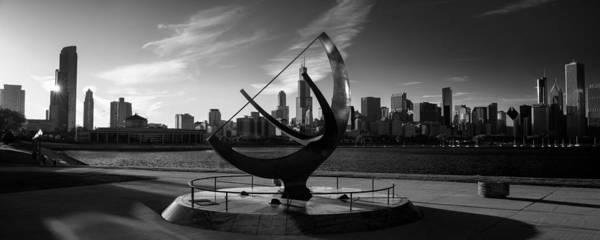 Chicago Skyline Art Photograph - Sundial And Chicago Il B W by Steve Gadomski