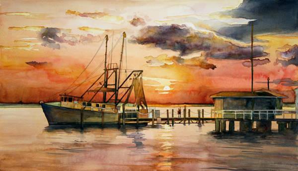 Jekyll Island Painting - Sundown On The Intracoastal Waterway by Jim Smither