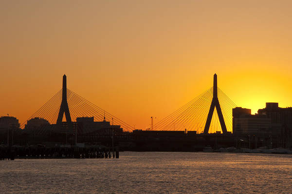 Photograph - Sundown Over The Leonard P Zakim Bridge - Boston by Joann Vitali